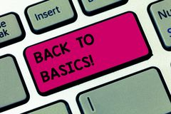 Word writing text Back To Basics. Business concept for Return simple things Fundamental Essential Primary basis Keyboard. Key Intention to create computer royalty free stock photos