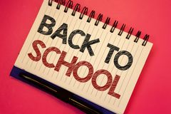 Word writing text Back To School. Business concept for Return to class first day of studies Classroom Arriving Text two Words note. S written white notepad black royalty free stock image