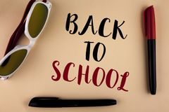 Word writing text Back To School. Business concept for Right time to purchase schoolbag, pen, book, stationary written on plain ba. Word writing text Back To Royalty Free Stock Photo