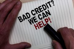 Word writing text Bad Credit question We Can Help. Business concept for Borrower with high risk Debts Financial Man's hand grasp. Black marker with some black royalty free stock photos