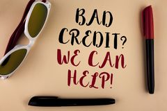 Word writing text Bad Credit Question We Can Help Motivational Call. Business concept for achieve good debt health written on plai. Word writing text Bad Credit Royalty Free Stock Images