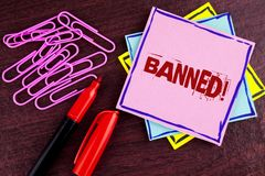 Word writing text Banned Motivational Call. Business concept for Ban on use of steroids, No excuse for building Muscles. written o. Word writing text Banned stock images