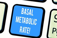 Word writing text Basal Metabolic Rate. Business concept for Minimum energy level require to sustain vital function. Keyboard key Intention to create computer stock photography