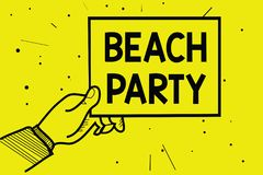 Word writing text Beach Party. Business concept for small or big festival held on sea shores usually wearing bikini Man hand holdi stock illustration