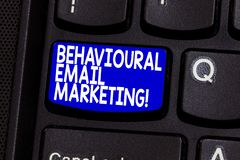 Word writing text Behavioural Email Marketing. Business concept for customercentric trigger base messaging strategy. Keyboard key Intention to create computer royalty free stock photos