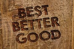 Word writing text Best Better Good. Business concept for improve yourself Choosing best choice Deciding Improvement Message banner. Wood information board post royalty free stock images