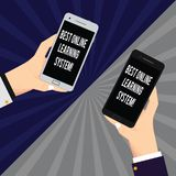 Word writing text Best Online Learning System. Business concept for Top high quality elearning techniques Two Hu analysis Hands. Each Holding Blank Smartphone stock illustration