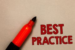 Word writing text Best Practice. Business concept for Method Systematic Touchstone Guidelines Framework Ethic Open red marker inte. Ntion communicating message royalty free stock images