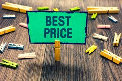 Word writing text Best Price. Business concept for Buyer or seller can obtain something for a product sold or buy Clothespin holdi. Ng green paper note several royalty free stock photos