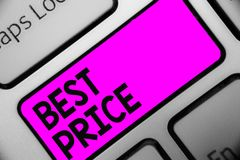 Word writing text Best Price. Business concept for Buyer or seller can obtain something for a product sold or buy Keyboard purple. Key Intention create computer stock photos