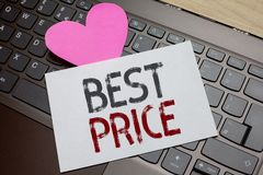 Word writing text Best Price. Business concept for Buyer or seller can obtain something for a product sold or buy Paper Romantic l. Ovely message Heart Keyboard stock photos