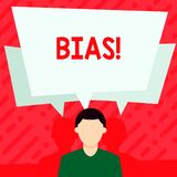 Word writing text Bias. Business concept for inclination or prejudice for or against one demonstrating group Faceless. Word writing text Bias. Business photo vector illustration
