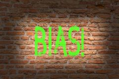 Word writing text Bias. Business concept for Unfair Subjective Onesidedness Preconception Inequality Bigotry Brick Wall. Word writing text Bias. Business photo stock photo