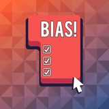 Word writing text Bias. Business concept for inclination or prejudice for or against one demonstrating group Direction. Word writing text Bias. Business photo royalty free illustration