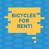 Word writing text Bicycles For Rent. Business concept for rents bikes for short periods of time usually few hours Blank. Color Speech Bubble in Puzzle Piece vector illustration