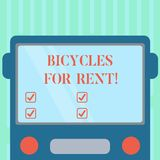 Word writing text Bicycles For Rent. Business concept for rents bikes for short periods of time usually few hours Drawn. Flat Front View of Bus with Blank Color vector illustration