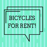 Word writing text Bicycles For Rent. Business concept for rents bikes for short periods of time usually few hours. Rectangular Outline Transparent Comic Speech vector illustration