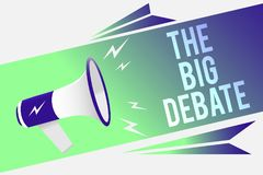 Word writing text The Big Debate. Business concept for Lecture Speech Congress presentation Arguments Differences Megaphone loudsp. Eaker speech bubble important royalty free illustration