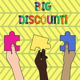 Word writing text Big Discount. Business concept for a large or greater than usual reduction in price Special offer vector illustration