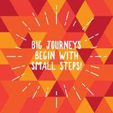 Word writing text Big Journeys Begin With Small Steps. Business concept for One step at a time to reach your goals Thin. Beam Lines Spreading out Dash of stock illustration
