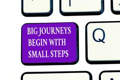 Word writing text Big Journeys Begin With Small Steps. Business concept for Start up a new business venture.  royalty free stock photos