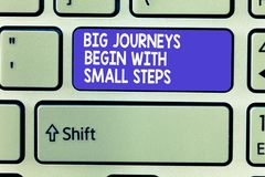 Word writing text Big Journeys Begin With Small Steps. Business concept for Start up a new business venture.  stock image