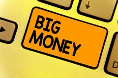 Word writing text Big Money. Business concept for Pertaining to a lot of ernings from a job,business,heirs,or wins stock image