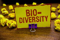 Word writing text Bio Diversity. Business concept for Variety of Life Organisms Marine Fauna Ecosystem Habitat Clip holding yellow. Paper note crumpled papers royalty free stock photos