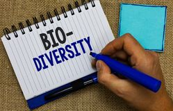 Word writing text Bio Diversity. Business concept for Variety of Life Organisms Marine Fauna Ecosystem Habitat Man holding marker. Notebook page reminder stock photo