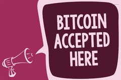 Word writing text Bitcoin Accepted Here. Business concept for you can purchase things through Cryptocurrencies Reporting thinking. Alarming sound speaker Stock Images