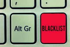 Word writing text Blacklist. Business concept for list of showing or groups regarded as unacceptable or untrustworthy. Keyboard key Intention to create computer royalty free stock photography