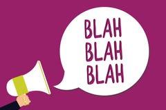 Word writing text Blah Blah Blah. Business concept for Talking too much false information gossips non-sense speaking Man holding m. Egaphone loudspeaker speech vector illustration
