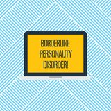 Word writing text Borderline Personality Disorder. Business concept for mental disorder marked by unstable moods Laptop Monitor royalty free stock photography