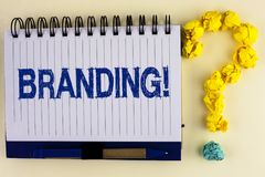 Word writing text Branding Motivational Call. Business concept for Creating a unique identity for new startup agencies written on. Word writing text Branding Stock Photography