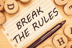 Word writing text Break The Rules. Business concept for To do something against formal rules and restrictions.  stock photos