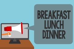 Word writing text Breakfast Lunch Dinner. Business concept for eating your meals at different period of day Alarming convey script vector illustration