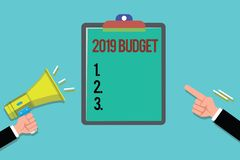 Word writing text 2019 Budget. Business concept for Business financial plan for new year Investments strategy.  stock illustration