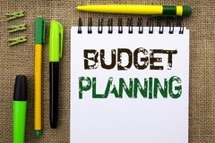Word writing text Budget Planning. Business concept for Financial Plannification Evaluation of earnings and expenses written on No royalty free stock photos