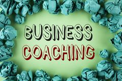 Word writing text Business Coaching. Business concept for consulting expert your field Experience improvement written on plain bac. Word writing text Business Stock Image