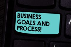 Word writing text Business Goals And Process. Business concept for Working strategies accomplish objectives Keyboard key. Intention to create computer message stock photos