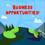 Word writing text Business Opportunities. Business concept for involves sale or lease of any product or equipment. Word writing text Business Opportunities royalty free illustration