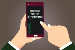 Word writing text Business Process Outsourcing. Business concept for Contracting work to external service provider Hu. Analysis Hands Holding Pointing Touching stock illustration