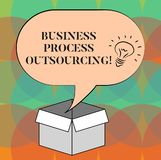 Word writing text Business Process Outsourcing. Business concept for Contracting work to external service provider Idea. Icon Inside Blank Halftone Speech royalty free illustration