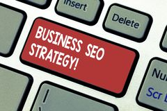 Word writing text Business Seo Strategy. Business concept for Optimization of website to rise the number of visits. Keyboard key Intention to create computer stock image