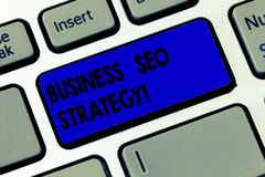 Word writing text Business Seo Strategy. Business concept for Optimization of website to rise the number of visits. Keyboard key Intention to create computer stock images