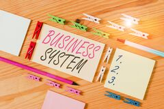Word writing text Business System. Business concept for delivery mechanism for providing specific goods to customers Colored