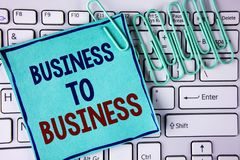 Word writing text Business To Business. Business concept for Working ground businessman busy work hard stop playing written on Sti Royalty Free Stock Image