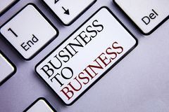 Word writing text Business To Business. Business concept for Working ground businessman busy work hard stop playing written on Whi stock images