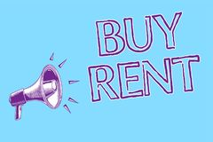 Word writing text Buy Rent. Business concept for choosing between purchasing something or paying for usage Megaphone loudspeaker b. Lue background important royalty free illustration