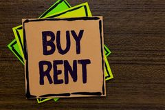 Word writing text Buy Rent. Business concept for choosing between purchasing something or paying for usage Paper notes Important r. Eminders Express ideas royalty free illustration